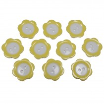 Colour Rim Daisy Flower Plastic Buttons 11mm Yellow Pack of 10