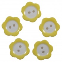 Colour Rim Daisy Flower Plastic Buttons 11mm Yellow Pack of 5