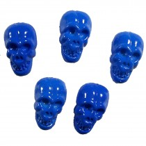 Colourful Plastic Skull Shaped Buttons 17mm x 10mm Blue Pack of 5