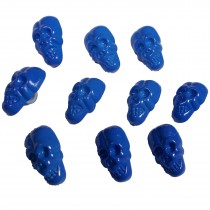 Colourful Plastic Skull Shaped Buttons 17mm x 10mm Blue Pack of 10