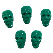 Colourful Plastic Skull Shaped Buttons 17mm x 10mm Green Pack of 5