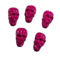 Colourful Plastic Skull Shaped Buttons 17mm x 10mm Pink Pack of 5