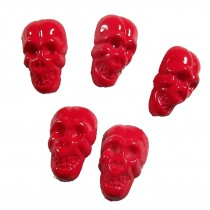 Colourful Plastic Skull Shaped Buttons 17mm x 10mm Red Pack of 5