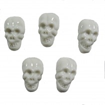 Colourful Plastic Skull Shaped Buttons 17mm x 10mm White Pack of 5
