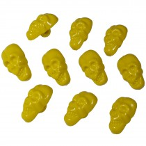 Colourful Plastic Skull Shaped Buttons 17mm x 10mm Yellow Pack of 10