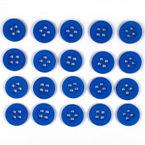 Colour 4 Hole Round Shirt Buttons 11mm Blue Pack of 20