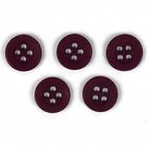 Colour 4 Hole Round Shirt Buttons 11mm Burgundy Pack of 5