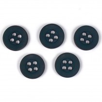 Colour 4 Hole Round Shirt Buttons 11mm Dark Grey Pack of 5