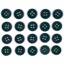 Colour 4 Hole Round Shirt Buttons 11mm Green Pack of 20
