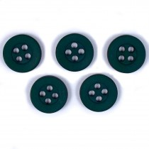 Colour 4 Hole Round Shirt Buttons 11mm Green Pack of 5