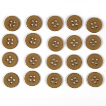 Colour 4 Hole Round Shirt Buttons 11mm Light Brown Pack of 20