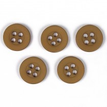 Colour 4 Hole Round Shirt Buttons 11mm Light Brown Pack of 5