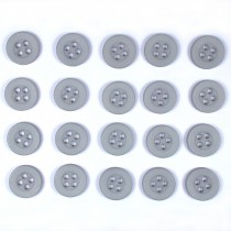 Colour 4 Hole Round Shirt Buttons 11mm Light Grey Pack of 20