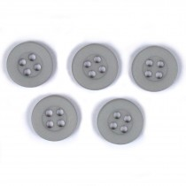 Colour 4 Hole Round Shirt Buttons 11mm Light Grey Pack of 5