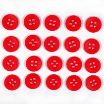 Colour 4 Hole Round Shirt Buttons 11mm Red Pack of 20