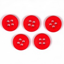 Colour 4 Hole Round Shirt Buttons 11mm Red Pack of 5