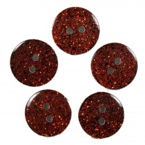Colour Dark Glitter Buttons 12mm Orange Pack of 5