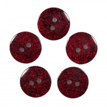 Colour Dark Glitter Buttons 12mm Red Pack of 5