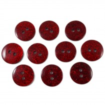 Colour Dark Glitter Buttons 12mm Red Pack of 10