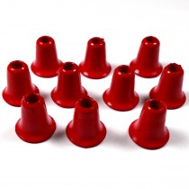 Plastic Bell Shape Cord Ends 12mm tall 4mm opening Red Pack of 10