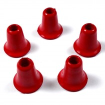 Plastic Bell Shape Cord Ends 12mm tall 4mm opening Red Pack of 5