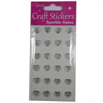 Craft Stickers 10mm Large Heart Diamante Cluster
