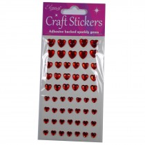 Craft Stickers 6mm - 10mm Heart Diamante Red