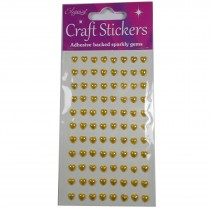 Craft Stickers 6mm Heart Pearl Gold