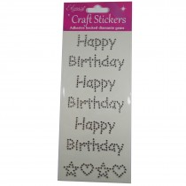Craft Stickers 73mm Happy Birthday Diamante