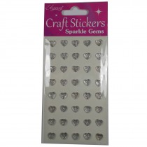 Craft Stickers 7mm Small Heart Diamante Cluster