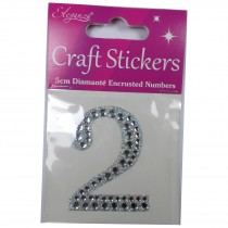Craft Stickers Diamante Numbers 5cm 2 Pack of One