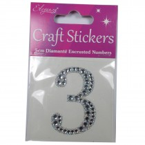 Craft Stickers Diamante Numbers 5cm 3 Pack of One