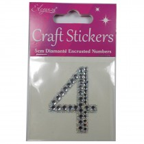 Craft Stickers Diamante Numbers 5cm 4 Pack of One