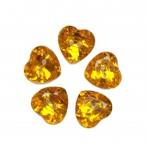 Acrylic Crystal Effect Heart Shape Buttons 16mm Amber Pack of 5