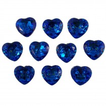 Acrylic Crystal Effect Heart Shape Buttons 28mm Blue Pack of 10