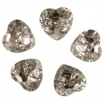 Acrylic Crystal Effect Heart Shape Buttons 12mm Clear Pack of 5