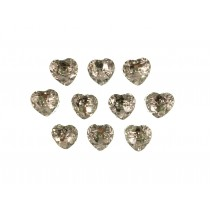 Acrylic Crystal Effect Heart Shape Buttons 12mm Clear Pack of 10