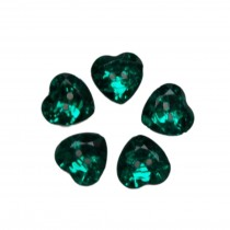 Acrylic Crystal Effect Heart Shape Buttons 12mm Green Pack of 5