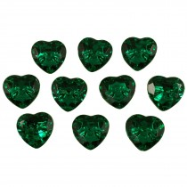 Acrylic Crystal Effect Heart Shape Buttons 28mm Green Pack of 10