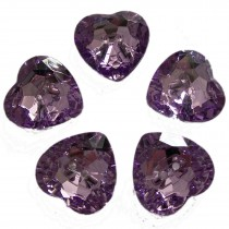 Acrylic Crystal Effect Heart Shape Buttons 12mm Lilac Pack of 5