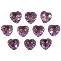 Acrylic Crystal Effect Heart Shape Buttons 12mm Lilac Pack of 10