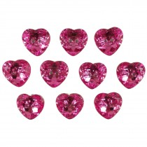 Acrylic Crystal Effect Heart Shape Buttons 12mm Pink Pack of 10