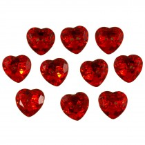 Acrylic Crystal Effect Heart Shape Buttons 12mm Red Pack of 10
