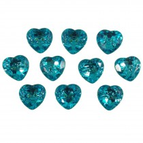 Acrylic Crystal Effect Heart Shape Buttons 12mm Turquoise Pack of 10