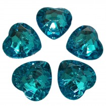 Acrylic Crystal Effect Heart Shape Buttons 20mm Turquoise Pack of 5