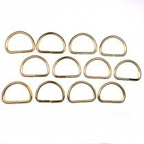 Gold Metal D Rings 33mm Pack of 12
