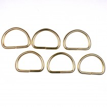 Gold Metal D Rings 29mm Pack of 6
