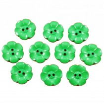 Large Daisy Flower Feature Button 22mm Green Pack of 10