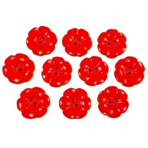 Large Daisy Flower Feature Button 22mm Red Pack of 10