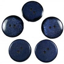 Dark Glitter Buttons 25mm Blue Pack of 5